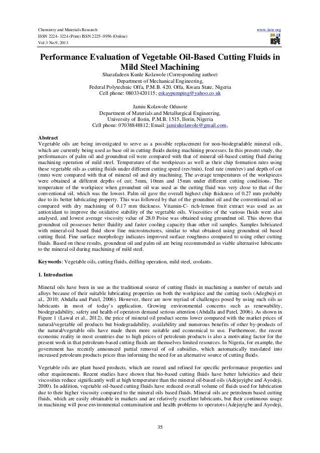 Chemistry and Materials Research www.iiste.org ISSN 2224- 3224 (Print) ISSN 2225- 0956 (Online) Vol.3 No.9, 2013 35 Perfor...
