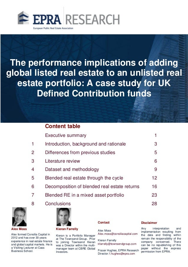 Blending listed and unlisted real estate for DC pension funds. Latest evidence.