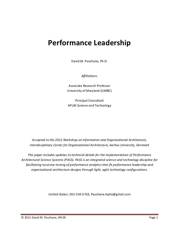 Performance Leadership Paschane Aplin 2011