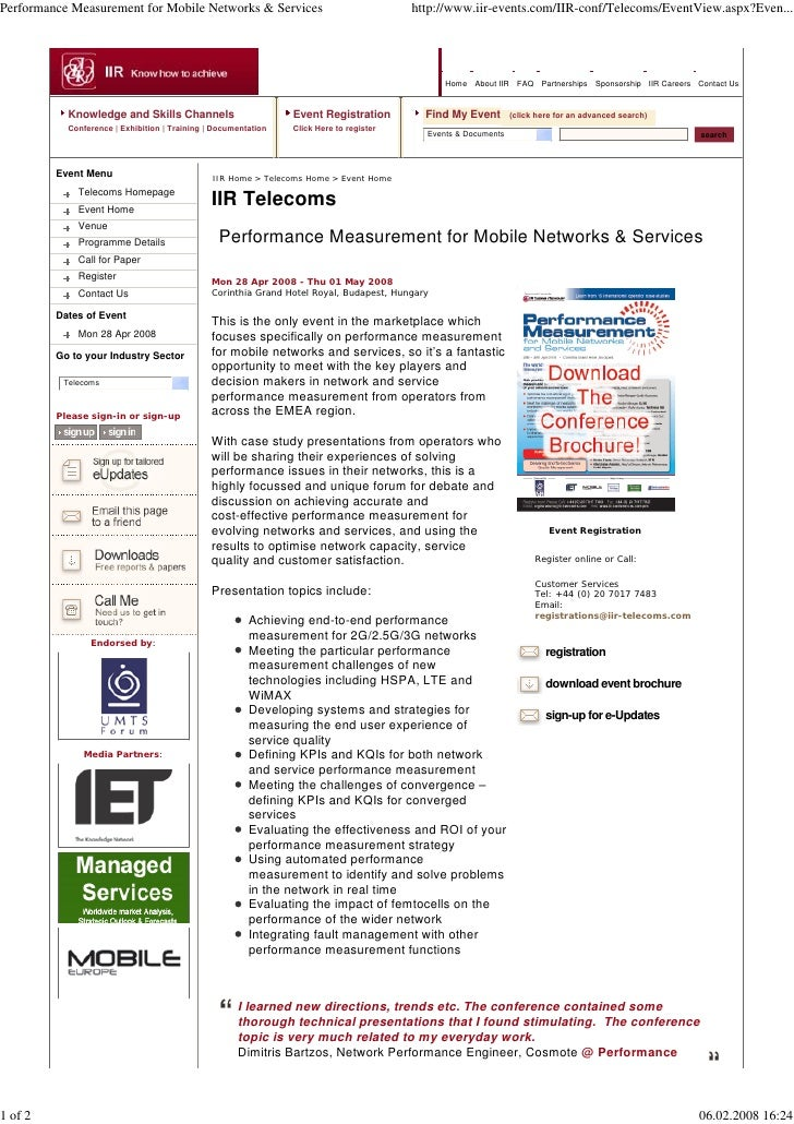 Performance Measurement for Mobile Networks & Services                                   http://www.iir-events.com/IIR-con...