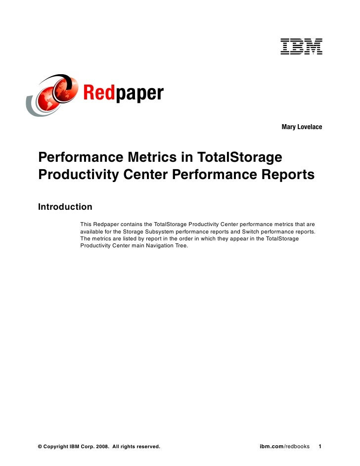 Performance metrics in total storage productivity center performance reports redp4347