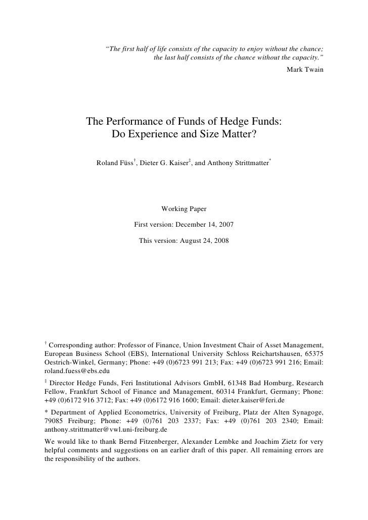 Performance Of Fo F Do Experience And Size Matter