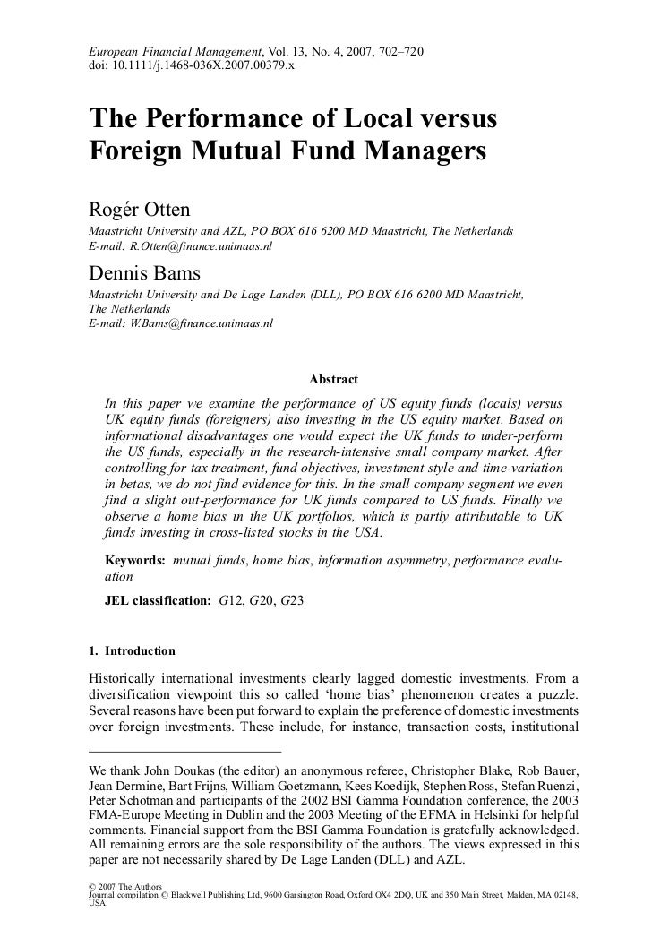 Performance of local vs foreign managers otten