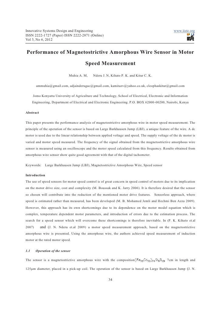 Performance of magnetostrictive amorphous wire sensor in motor speed measurement