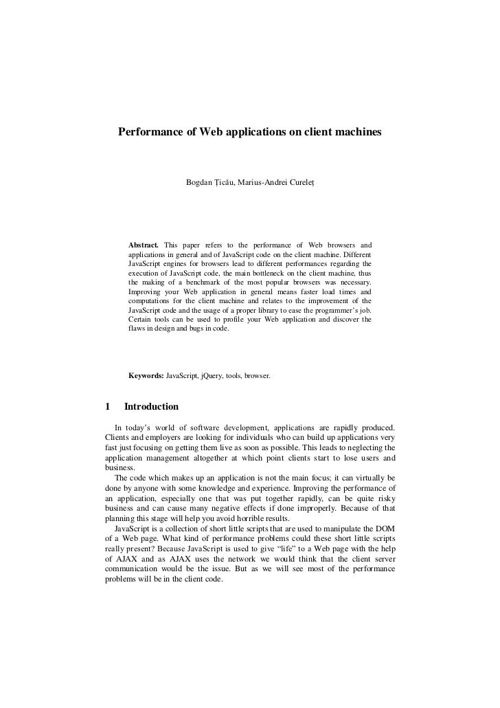Performance Of Web Applications On Client Machines