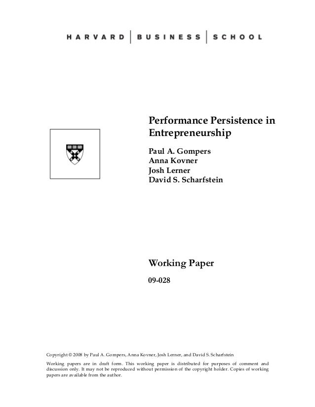 Performance Persistence by Harvard Business School