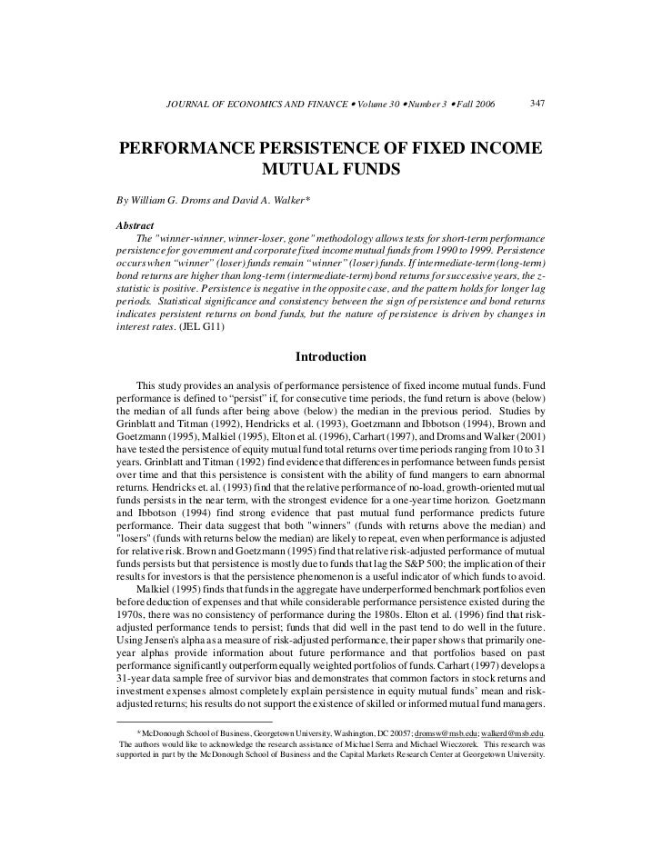 Performance persistence of fixed income funds droms