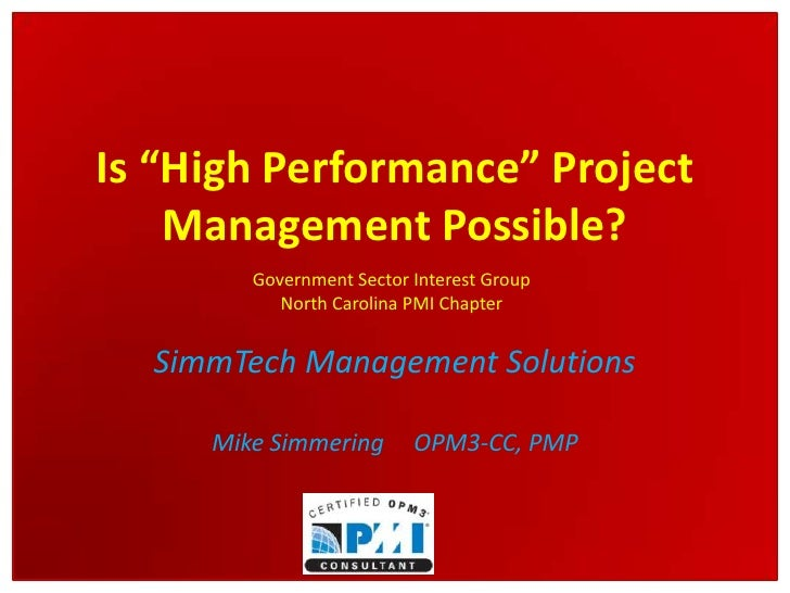 High Performance Project Management