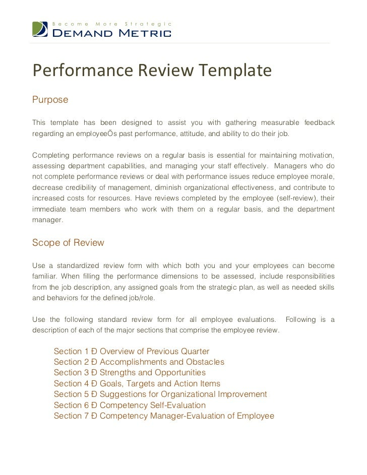 Performance Review TemplatePurposeThis template has been designed to assist you with gathering measurable feedbackregardin...