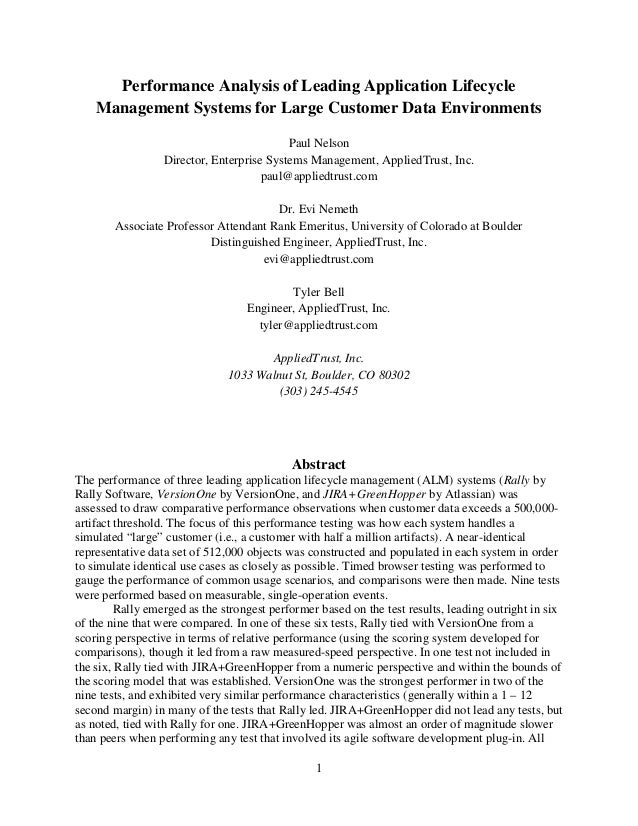 Performance Analysis of Leading Application Lifecycle    Management Systems for Large Customer Data Environments          ...