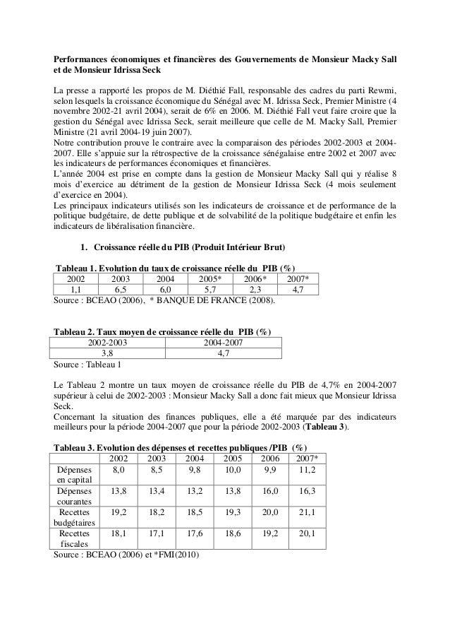 Performances économiques et financières des Gouvernements de Monsieur Macky Sall et de Monsieur Idrissa Seck La presse a r...