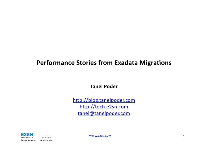 Tanel Poder - Performance stories from Exadata Migrations