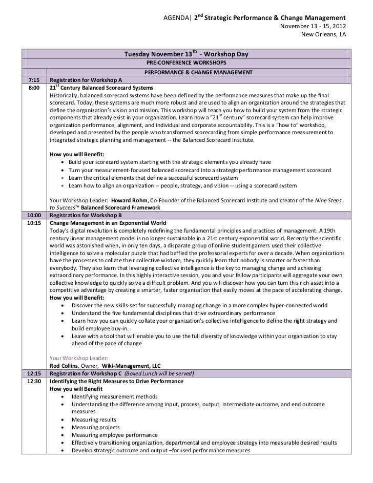 AGENDA| 2nd Strategic Performance & Change Management                                                                     ...