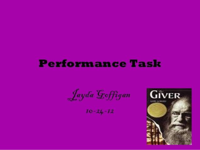 Performance Task    Jayda Goffigan       10-24-12
