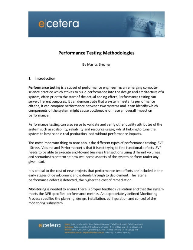 Performance Testing Methodologies  By Marius Brecher   1. Introduction  Performance test...