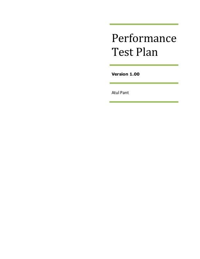 Performance Test Plan - Sample 1