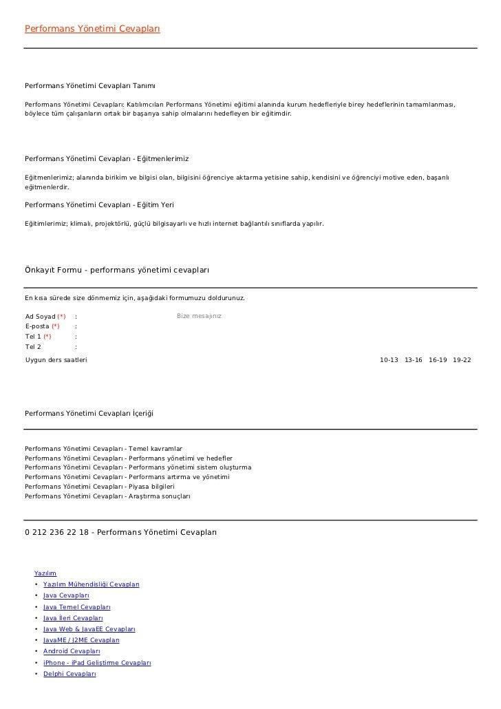 Performans Yönetimi CevaplarıPerformans Yönetimi Cevapları TanımıPerformans Yönetimi Cevapları: Katılımcıları Performans Y...