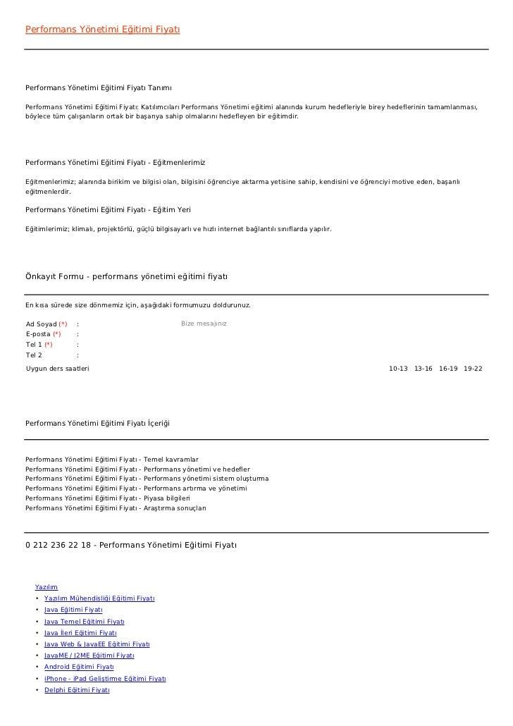Performans Yönetimi Eğitimi FiyatıPerformans Yönetimi Eğitimi Fiyatı TanımıPerformans Yönetimi Eğitimi Fiyatı: Katılımcıla...