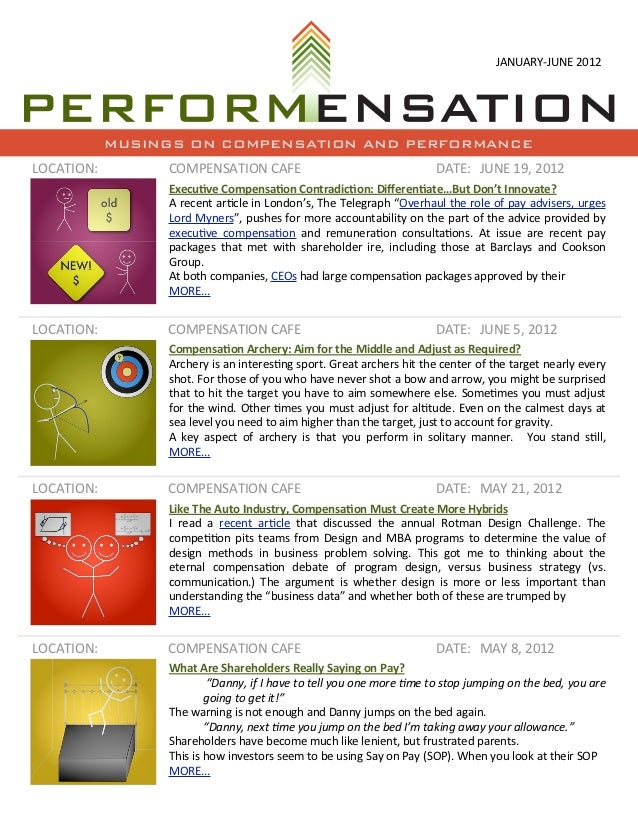 JANUARY-­‐JUNE	  2012            MUSINGS ON COMPENSATION AND PERFORMANCELOCATION:        COMPENSATION	  CAFE              ...