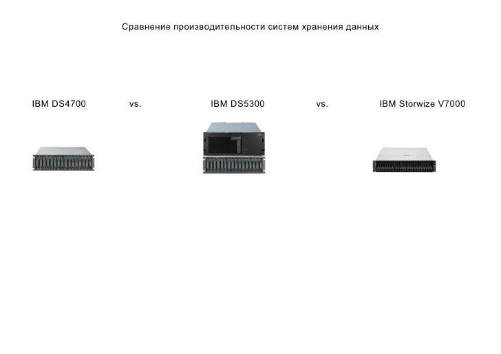 Сравнение производительности систем хранения данныхIBM DS4700    vs.             IBM DS5300           vs.             IBM ...
