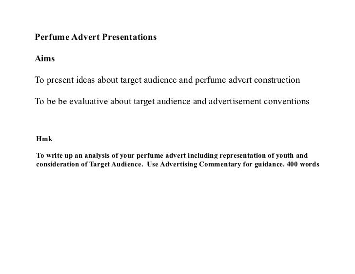 perfume commercial analysis Essay on semiotics and a semiotic analysis of two ads, from my first year at queensland university of technology, 2002.