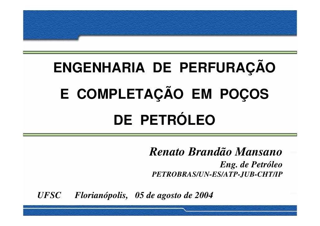 ENGENHARIA DE PERFURAÇÃO    E COMPLETAÇÃO EM POÇOS                 DE PETRÓLEO                           Renato Brandão Ma...