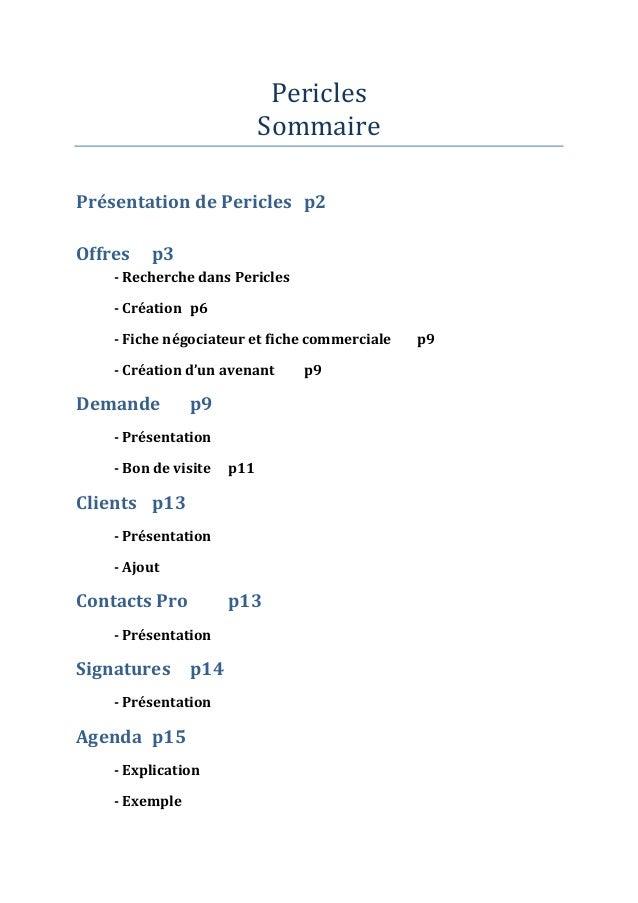 Pericles                            SommairePrésentation de Pericles p2Offres   p3    - Recherche dans Pericles    - Créat...