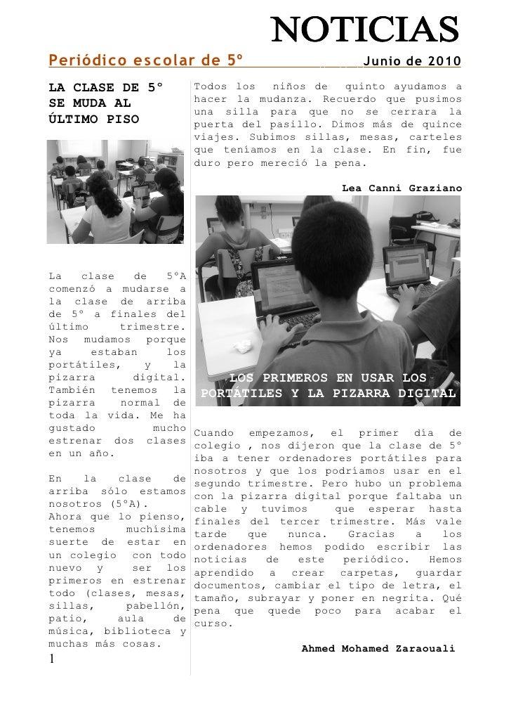 Periódico escolar de 5º