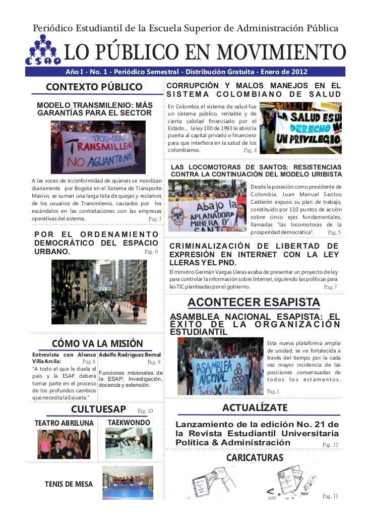 Periódico Estudiantil de la Escuela Superior de Administración Pública             LO PÚBLICO EN MOVIMIENTO              A...