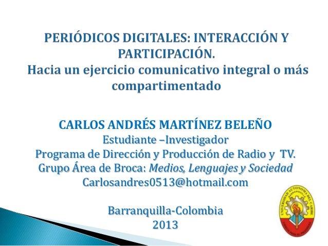 Periódicos digitales. interacción y participación
