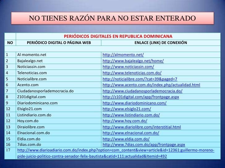 NO TIENES RAZÓN PARA NO ESTAR ENTERADO                            PERIÓDICOS DIGITALES EN REPUBLICA DOMINICANANO       PER...
