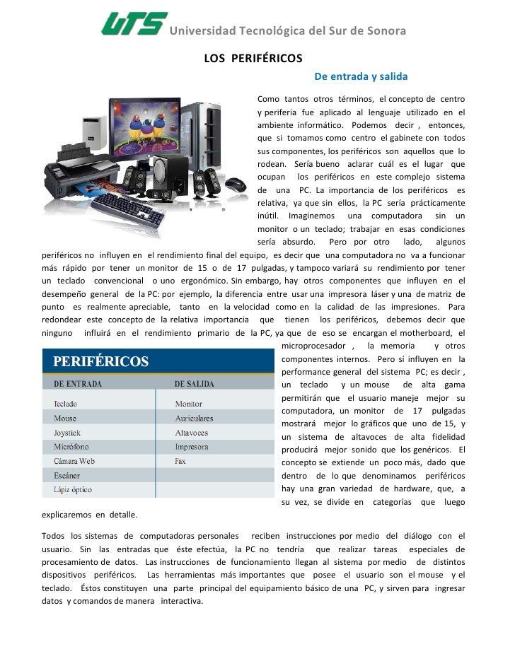 Universidad Tecnológica del Sur de Sonora                                            LOS PERIFÉRICOS                      ...