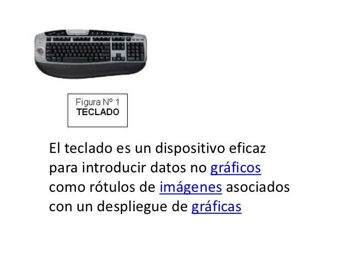 El teclado es un dispositivo eficazpara introducir datos no gráficoscomo rótulos de imágenes asociadoscon un despliegue de...