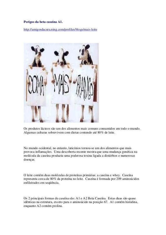 Perigos da beta caseína A1. http://amigosdacura.ning.com/profiles/blogs/mais-leite Os produtos lácteos são um dos alimento...