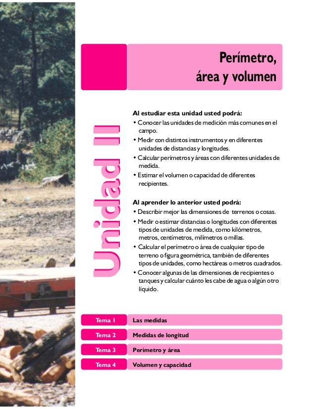 Perímetro, área y volumen Tema 1 Las medidas Tema 2 Medidas de longitud Tema 3 Perímetro y área Tema 4 Volumen y capacidad...