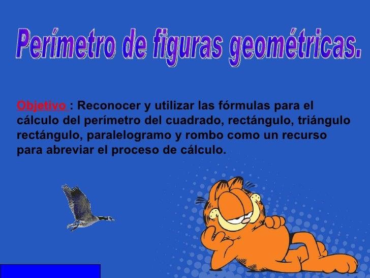 Objetivo  :   Reconocer y utilizar las fórmulas para el cálculo del perímetro del cuadrado, rectángulo, triángulo rectángu...