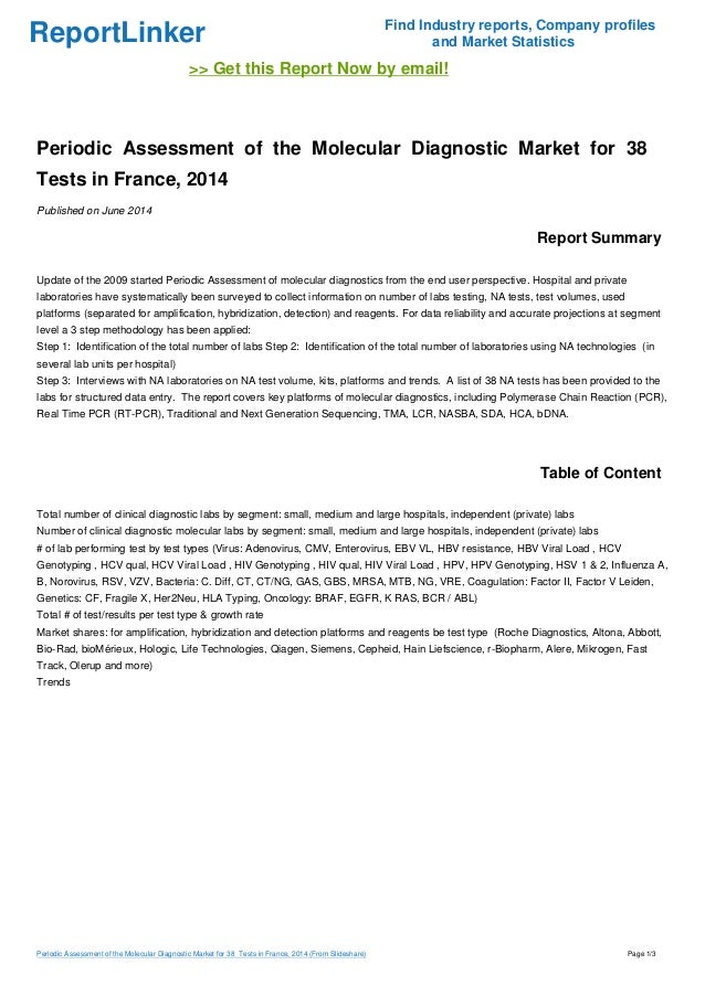 Periodic Assessment of the Molecular Diagnostic Market for 38  Tests in France, 2014