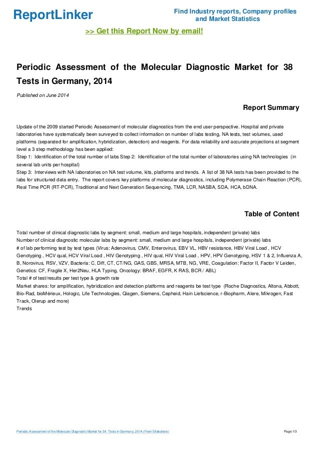Periodic Assessment of the Molecular Diagnostic Market for 38  Tests in Germany, 2014