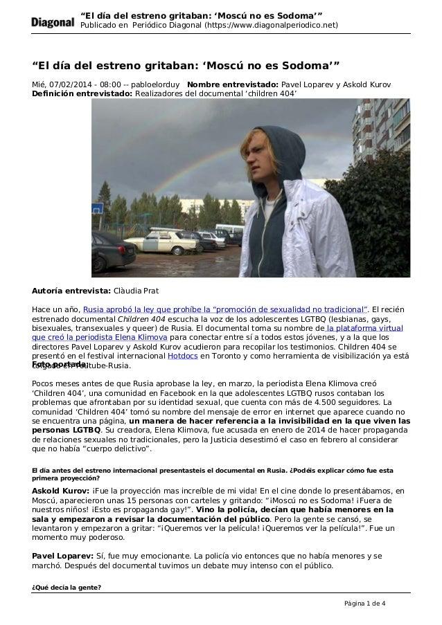 """""""El día del estreno gritaban: 'Moscú no es Sodoma'"""" Publicado en Periódico Diagonal (https://www.diagonalperiodico.net) """"E..."""