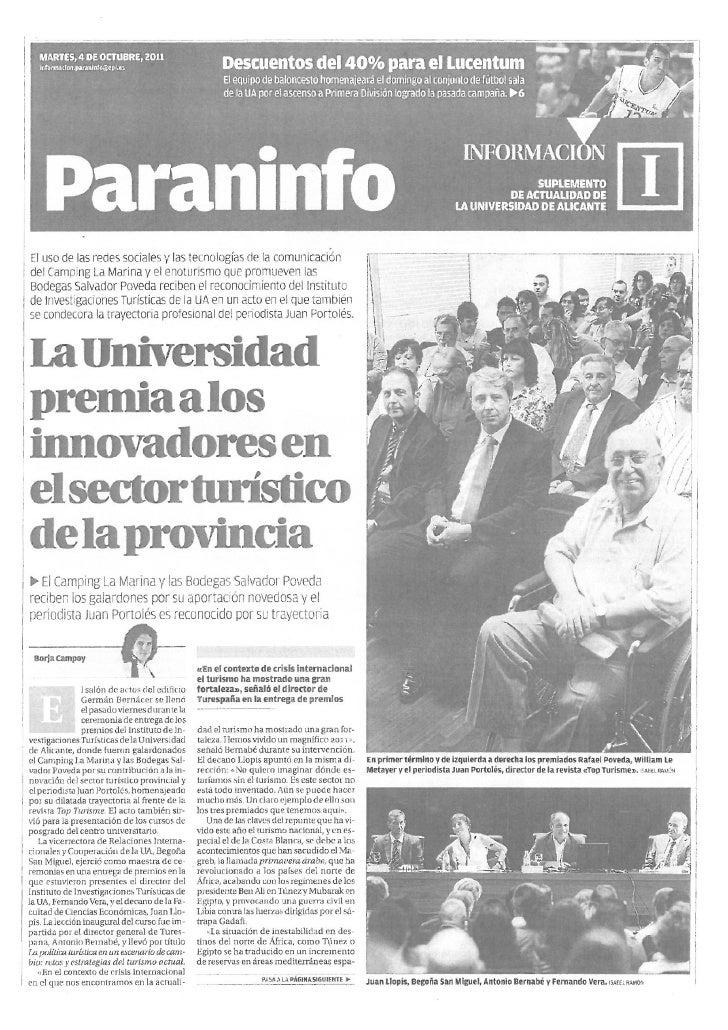 Universidad de Alicante premia a los innovadores del sector turístico