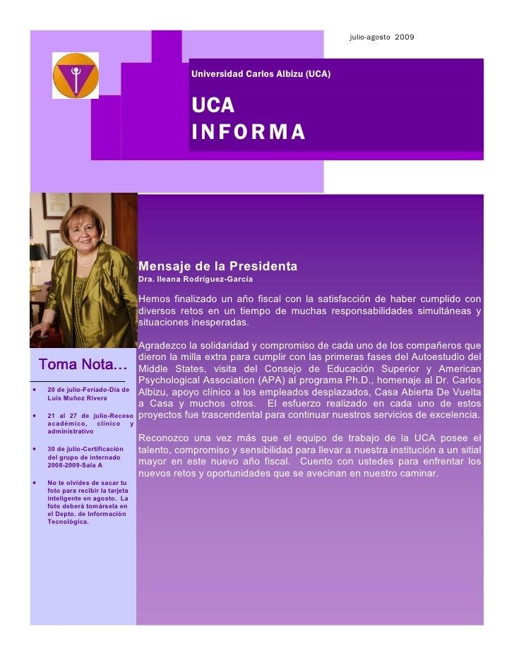 julio-agosto 2009                                                    Universidad Carlos Albizu (UCA)                      ...