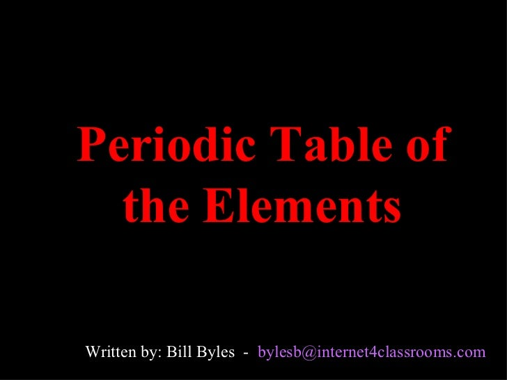 Periodic Table of the Elements Written by: Bill Byles  -  [email_address]