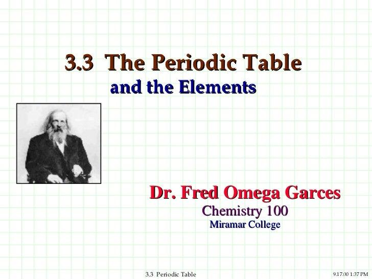 3.3  The Periodic Table  and the Elements <ul><li>Dr. Fred Omega Garces </li></ul><ul><li>Chemistry 100 </li></ul><ul><li>...