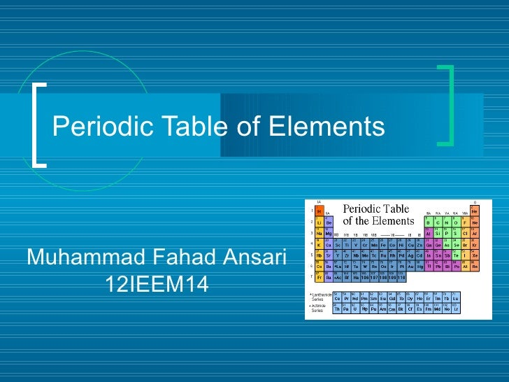Periodic Table of ElementsMuhammad Fahad Ansari     12IEEM14