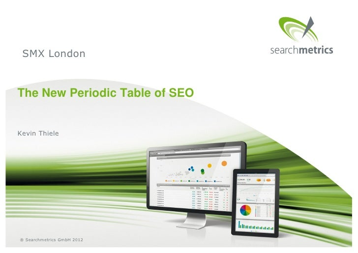 SMX LondonThe New Periodic Table of SEOKevin Thiele® Searchmetrics GmbH 2012