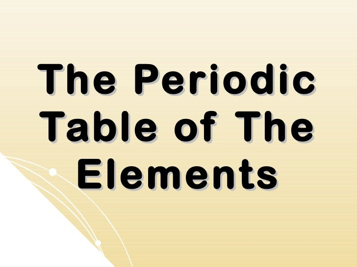 The PeriodicTable of The Elements