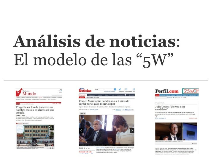 """Análisis de noticias : El modelo de las """"5W"""""""