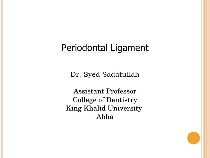 Periodontal Ligament Dr. Syed Sadatullah Assistant Professor College of Dentistry King Khalid University  Abha
