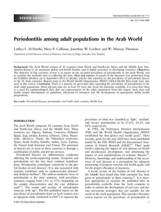 Periodontitis among adult populations in the arab world idj12002