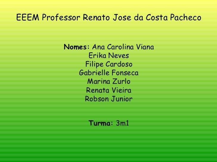 EEEM Professor Renato Jose da Costa Pacheco Nomes:  Ana Carolina Viana Erika Neves Filipe Cardoso Gabrielle Fonseca Marina...